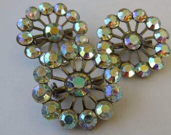 Vintage Rhinestone Brooches Aurora Borealis Rhinestone Pins
