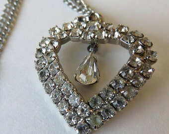 Vintage Rhinestone Heart Necklace Vintage Costume Jewelry Heart Necklace