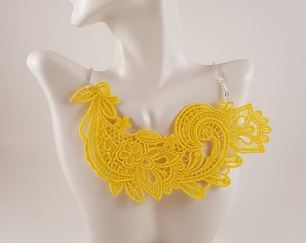 Yellow lace necklace Lace jewelry Yellow necklace Yellow Jewelry Bib Necklace Statement necklace Bridesmaids necklace Bib lace jewelry