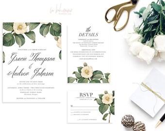Printable Wedding Invitation Suite / Wedding Invite Set - The Gracie Botanical Suite