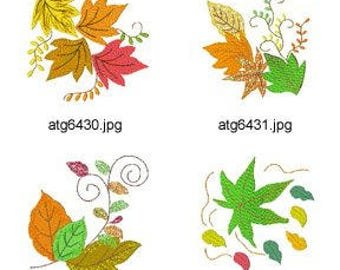 Autumn-Leaves. ( 7 Machine Embroidery Designs from ATW ) XYZ17C