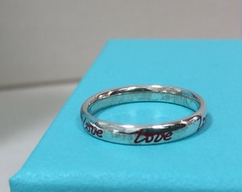 LIKE NEW!!  Wonderful Tiffany & Co. Paloma Picasso Sterling Silver Love Ring in Red Enamel -- Size 5.5