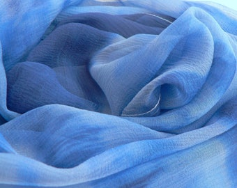 NEW! Pure Silk Chiffon Scarf - 'Daybreak' - Handmade and Hand dyed