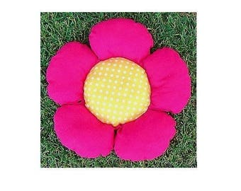 Extra Small Pink and Yellow Flower Bed Flower-Shaped Dog or Cat Bed, Pet Bed, Dog Bedding