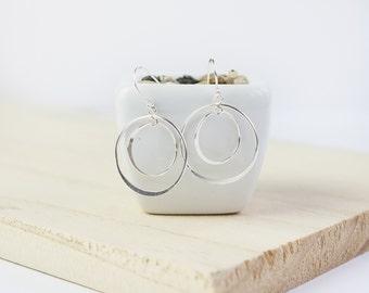 Mistral Hoop Earrings,  Sterling Silver, Double Hoop Earrings, Silver Spinner Earrings, Silver Dangle Earrings, silver drop earrings
