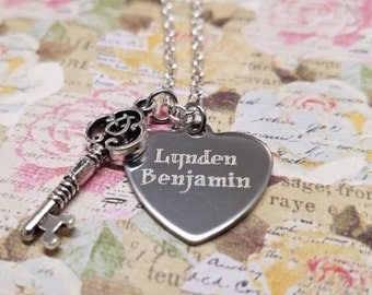 Personalized Heart & Key Necklace - Heart Necklace - Key Necklace - Heart and Key - Key and Heart