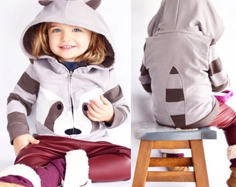12-18 months, Raccoon grey Hoodie, zip-up Jacket, Stripe sleeves, Animal Sweatshirt, Hoodie with Ears , infant jacket,  Raccoon outfit