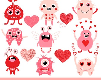 Cute Valentine Monsters Clipart, Kids Valentine Clipart, Pink Monster Love  Clipart, Valentine Heart