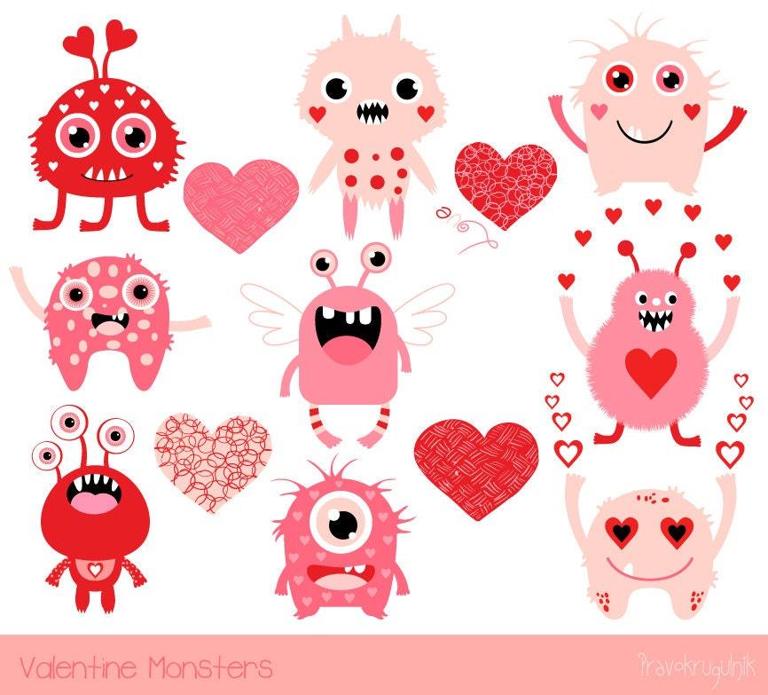 cute valentine monsters clipart kids valentine clipart
