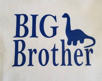 IRON ON Big brother or little brother with a dinosaur iron-on decal - Decal Only- Perfect for boys DYI shirt or bag. Sibling decals.
