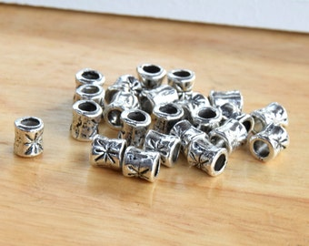 30 Small Silver Plated Engraved Tube Beads with 3mm Hole.  5mmx4mm Antique Silver Plated Patterned Beads for Jewelry Projects.