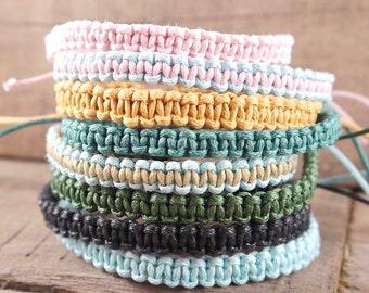 Macrame Friendship Bracelet, braided, stacking, mens, adjustable, surf, festival clothing, hippie jewelry, boho, children's, best friend