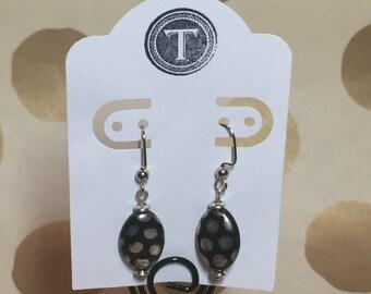 Black and Silver Polka Dot Earrings