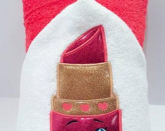 Hooded Towel - Lipstick Hooded Towel - Embroidered Makeup- Kids Hooded Pool Towel - Tween Beach Towel - Kids Bath Towel - Personalized Towel