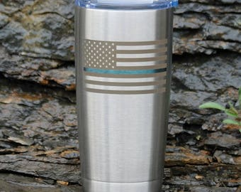 Thin Blue Line Engraved Drinkware -Personalization Available