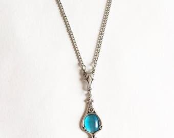 Aquamarine Necklace, Aquamarine Pendant, Art Nouveau necklace, Aquamarine Jewelry, Floral Necklace, Art Nouveau Jewelry, Blue necklace