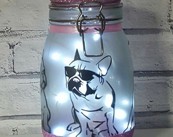 French Bulldog, Night Light,,Fairy Lights,Frenchie Gift, French Bulldog Gift, Fairy Jar, Dog Gift, Frenchie Decal, Bedroom Light,Home Decor