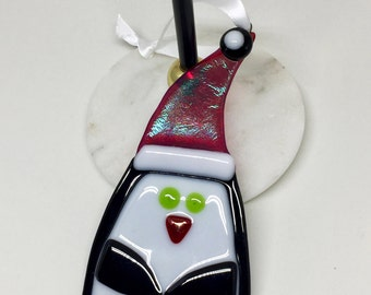 Christmas Tree Ornament – Red, White and Black Penguin Fused Glass