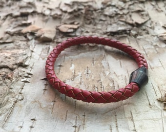 Red Braided leather bracelet, black magnetic clasp, orange leather, red bracelet,wrap around bracelet, gift for him, gift for her
