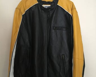 Black Yellow White Authentic Leather Max Rider Jacket / Size M
