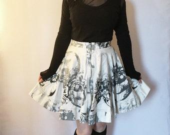SALE 50% OFF Skull Print Skirt, Full Circle Skirt, Rockabilly Skirt, High Waisted Skirt, Skater Skirt, Exposed Zipper Skirt, Twirl Skirt