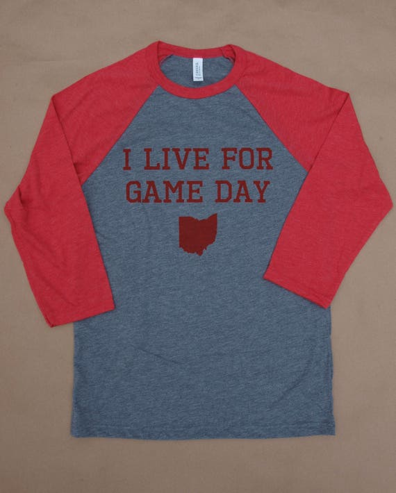 red and gray i live for game day raglan tee