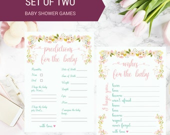 DIY PRINTABLE Baby Shower Game Set of 2 Wishes For Baby Predictions for Baby | Instant Download Printable | Floral Calligraphy | AnnaB024