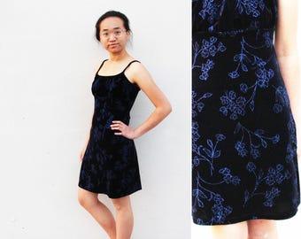 Cobalt Sparkly Velvet Slip Dress