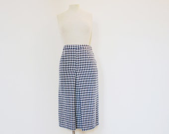 Vintage 70s Blue & White Houndstooth Wool Midi Skirt - Extra Small