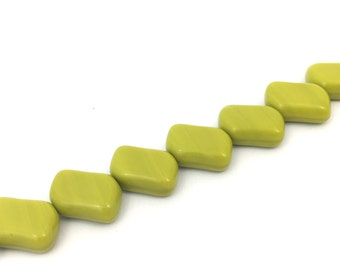 Geometric Glass Bead Opaque Lime, Flat Bead, Diagonal Hole, Rectangle, 9x13, 12pcs, A0075F