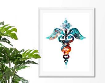 Caduceus Watercolor  Fine  Art Print, Medical Print,  Nurse Gift,Poster, Wall Art,Medical Logo, Archival print
