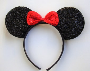 Minnie mouse ears-black glitter, red bow