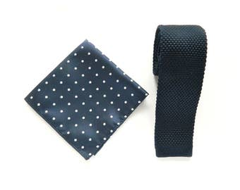 knitted navy tie skinny tie navy white polka dot pocket square wedding gift for him groomsmen uk