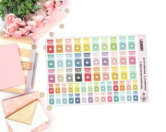 Laundry    100+ Planner Stickers, Laundry Day, Washing Machine Stickers, Item Planner Stickers, Stickers For Planners, Laundry Baskets