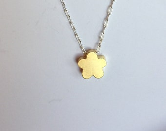 Flower pendant necklace, sterling silver-goldplated flower necklace