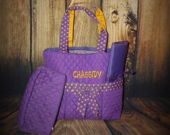 Monogrammed diaper bag, Personalized Diaper bags, diaper bags, boy diaper bags, girl diaper bags, quilted diaper bags, purple diaper bag