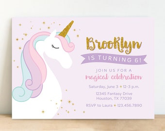 Unicorn Invitation, Pastel Unicorn Invitation with Gold Glitter, Unicorn Birthday Party - Personalized, Printable
