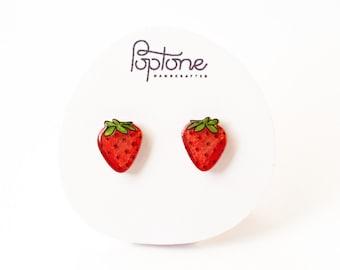 Strawberry Earrings, strawberry fruit studs, strawberries, kawaii fruit earrings, red berry earrings