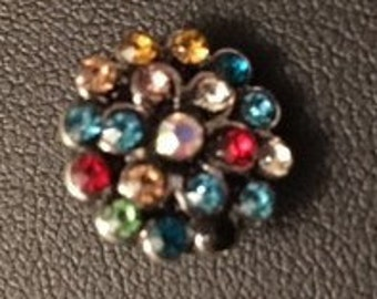Beautiful Rhinestone Burst of Color 12mm Interchangeable Snap for all 12mm Snap Jewelry