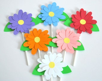 Flower Cupcake Toppers - Spring Cake Toppers - Baby Shower Flower Cupcake Picks - Bridal Shower Flower Picks (set of 12)