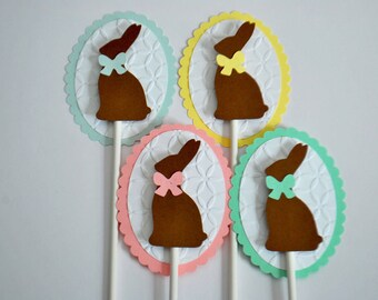 Easter Cupcake Toppers - Easter Bunny Cake Toppers - Chocolate Bunny Cupcake Picks (set of 12)