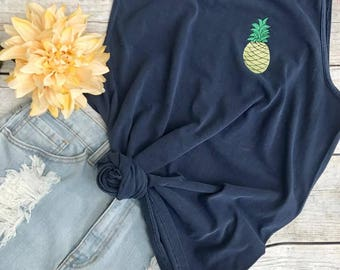 Pineapple Comfort Color Tank, summer, beach, Nautical, Monogrammed tank, Bathing Suit cover up, Beach Babe