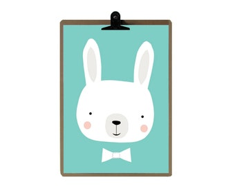 Rabbit nursery print - Green color Nursery art prints - baby nursery decor - nursery wall - Children Art - Kids Room