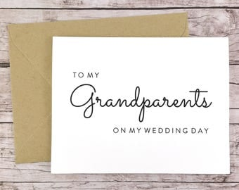 To My Grandparents On My Wedding Day Card, Grandparents Card, Grandpa Card, Grandma Card, Wedding Day Card, Grandparents Gift  - (FPS0016)