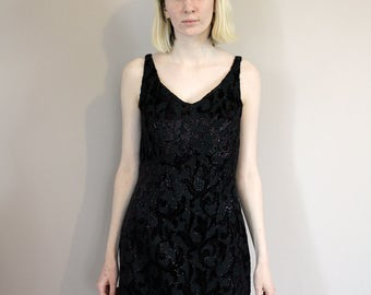 Vintage 80s Embroidered Floral Black Velvet Mini Dress - Extra Small/Small