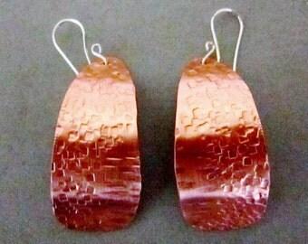 Texture copper earrings