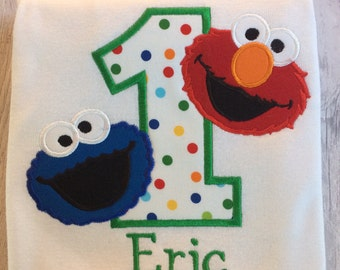 Elmo and Cookie Monster Birthday Shirt; Sesame Street Birthday Shirt; Personalized Birthday Shirt