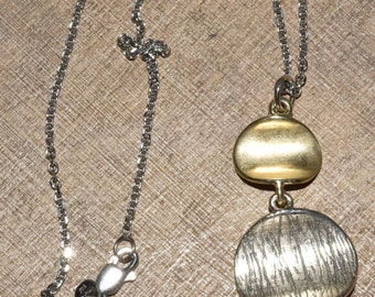 Sterling Silver Orb Necklace Signed Simple Modern Design Artisan Made