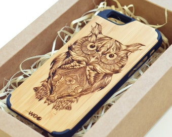 iPhone 6 - iPhone 7 Owl case wood cover wooden, iPhone 7 wood case, wooden case iPhone 7 plus, iPhone 5 wood case,Wood case iPhone 7
