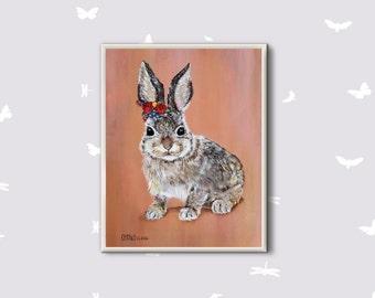 Easter Bunny gift Easter Bunny art Easter Bunny print Acrylic art Nursery art print Woodland animals Gift for kids Animals decor